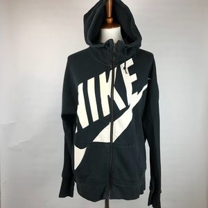 NIKE XL black funnel neck hoodie! Large letters